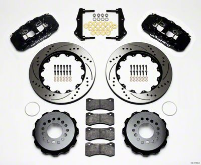 Wilwood AERO4 Rear Brake Kit w/ Drilled & Slotted Rotors - Black (09-11 R/T, SE)