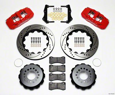 Wilwood AERO4 Rear Brake Kit w/ Drilled & Slotted Rotors - Red (09-11 R/T, SE)