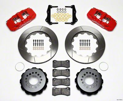 Wilwood AERO4 Rear Brake Kit w/ Slotted Rotors - Red (09-11 R/T, SE)
