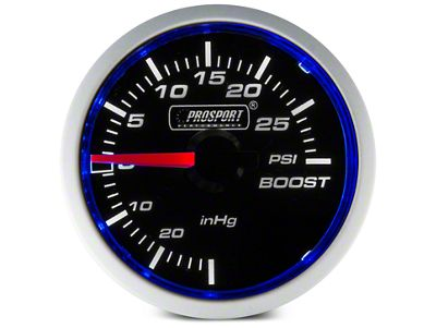 Prosport Dual Color 30 PSI Boost/Vac Gauge - Mechanical - Blue/White (08-19 All)
