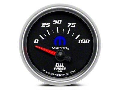 Mopar Oil Pressure Gauge - Electrical - Black (08-19 All)