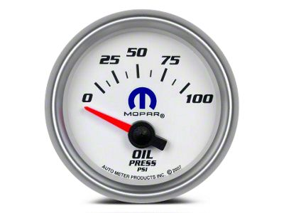 Mopar Oil Pressure Gauge - Electrical - White (08-19 All)