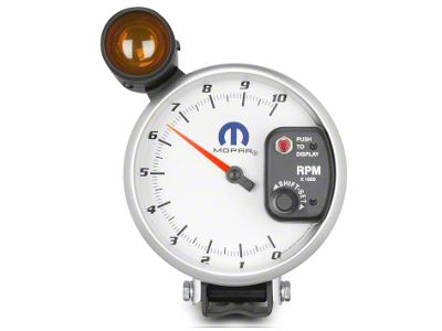 Mopar 5 in. Pedestal Tachometer w/ Shift Light - White (08-19 All)