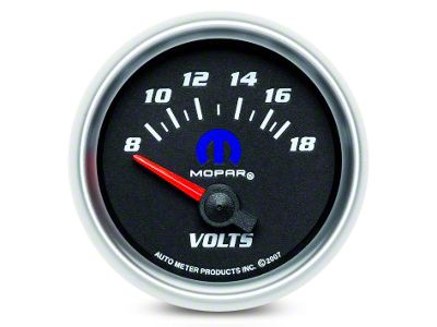 Mopar Voltmeter Gauge - Electrical - Black - White (08-19 All)