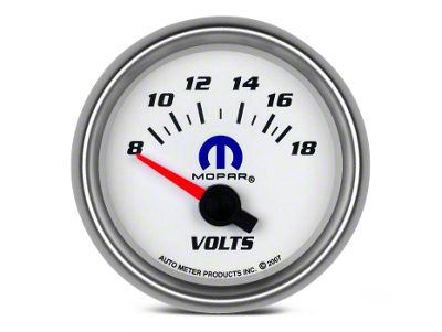 Mopar 2-1/16 in. Voltmeter Gauge - Electrical - White (08-19 All)
