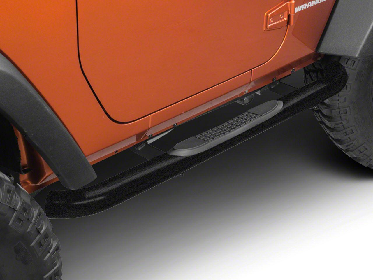RedRock 4x4 3 in. Round Curved Side Step Bars - Textured Black (07-18 Jeep Wrangler JK 2 Door)