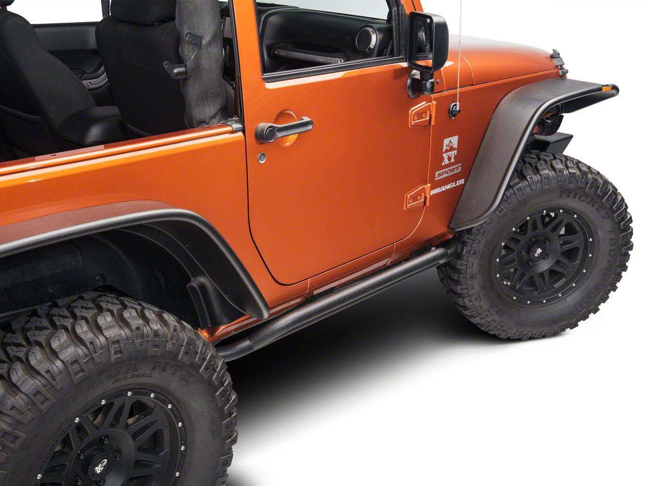 RedRock 4x4 Rocker Guard - Textured Black (07-18 Jeep Wrangler JK 2 Door)