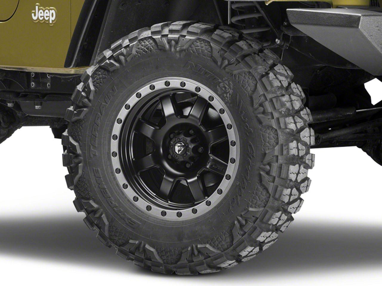 Fuel Wheels Trophy Matte Black w/ Anthracite Ring Wheel - 17x8.5 (87-06 Jeep Wrangler YJ & TJ)