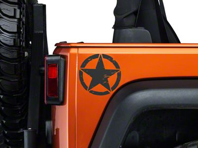 XT Graphics Small On The Move Stars - Matte Black - Pair (87-18 Jeep Wrangler YJ, TJ, JK & JL)