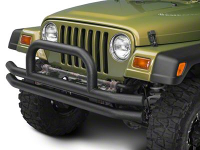 Barricade Double Tubular Front Bumper w/ Classic Hoop Over-Rider - Textured Black (87-06 Jeep Wrangler YJ & TJ)