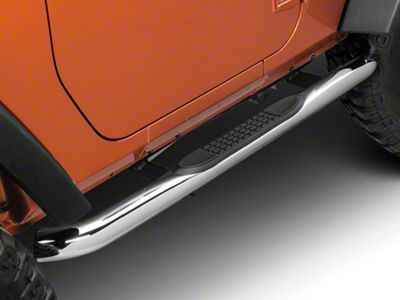 RedRock 4x4 3 in. Round Curved Side Step Bars - Stainless Steel (07-18 Jeep Wrangler JK 2 Door)