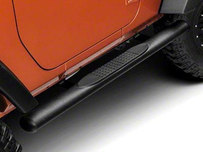RedRock 4x4 4 in. Oval Straight Side Step Bars - Textured Black (07-18 Jeep Wrangler JK 2 Door)
