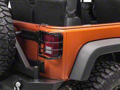 RedRock 4x4 Wrap Around Tail Light Guard - Gloss Black (07-18 Jeep Wrangler JK)