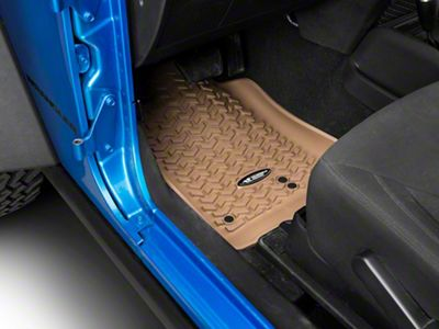Rugged Ridge Floor Liner Kit - Tan - Front & 2nd Row (14-18 Jeep Wrangler JK 2 Door)