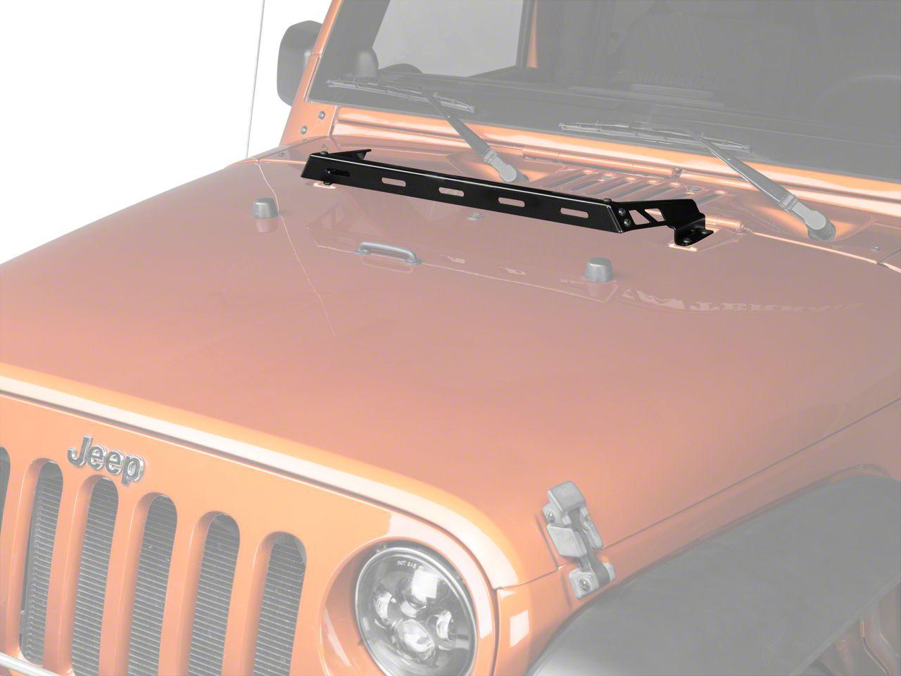 Rugged Ridge Hood Mounted Light Bar - Gloss Black (07-18 Jeep Wrangler JK)