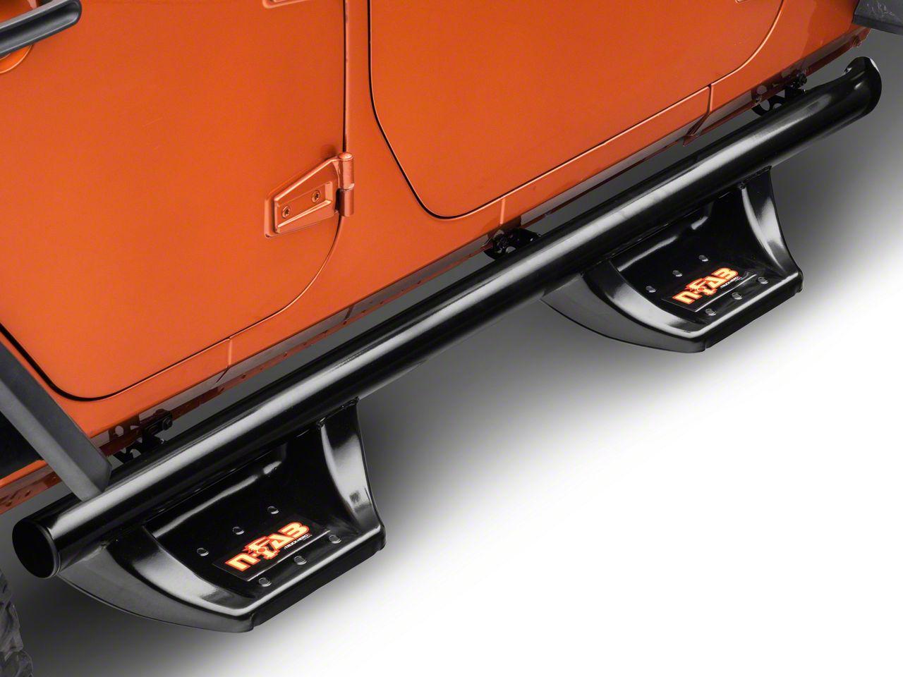 N-Fab Wheel to Wheel N-Durastep Nerf Side Step Bars - Semi-Gloss Black (07-18 Jeep Wrangler JK 4 Door)