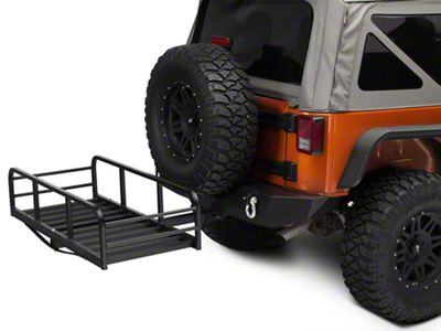 RedRock 4x4 Hitch Mounted Cargo Rack - 12 in. XL (87-18 Jeep Wrangler YJ, TJ, JK & JL)
