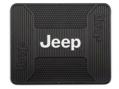Alterum Jeep Logo Elite Rear Utility Floor Mat - Black (87-18 Jeep Wrangler YJ, TJ, JK & JL)