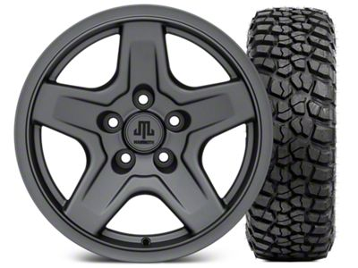 Mammoth Boulder Charcoal 16x8 Wheel & BFG KM2 315/75- 16 Tire Kit (87-06 Jeep Wrangler YJ & TJ)