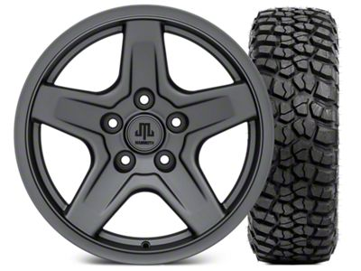 Mammoth Boulder Charcoal Wheel - 17x9 and BFG KM2 Tire 35x12.5x17 (07-18 Jeep Wrangler JK)
