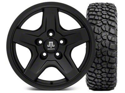 Mammoth Boulder Black 16x8 Wheel & BFG KM2 315/75- 16 Tire Kit (87-06 Jeep Wrangler YJ & TJ)