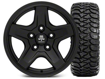 Mammoth Boulder Black Wheel - 16x8 Wheel - and Mickey Thompson Baja MTZ 315/75-16 (07-18 Jeep Wrangler JK)