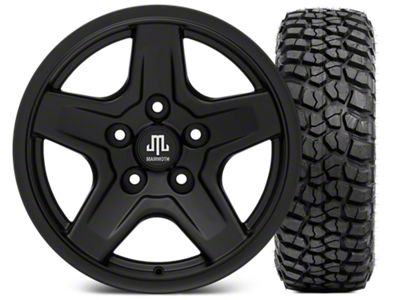 Mammoth Boulder Black Wheel - 16x8 Wheel - and BFG KM2 Tire 315/75- 16 (07-18 Jeep Wrangler JK)