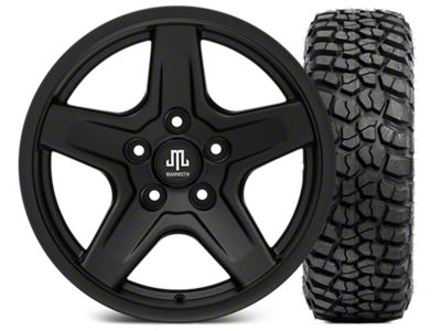 Mammoth Boulder Black Wheel - 17x9 and BFG KM2 Tire 35x12.5x17 (07-18 Jeep Wrangler JK; 2018 Jeep Wrangler JL)