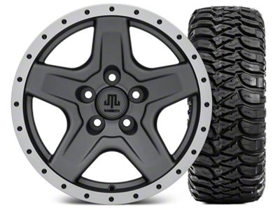 Mammoth Boulder Beadlock Style Charcoal 16x8 Wheel & Mickey Thompson Baja MTZ 315/75-16 Tire Kit (87-06 Jeep Wrangler YJ & TJ)