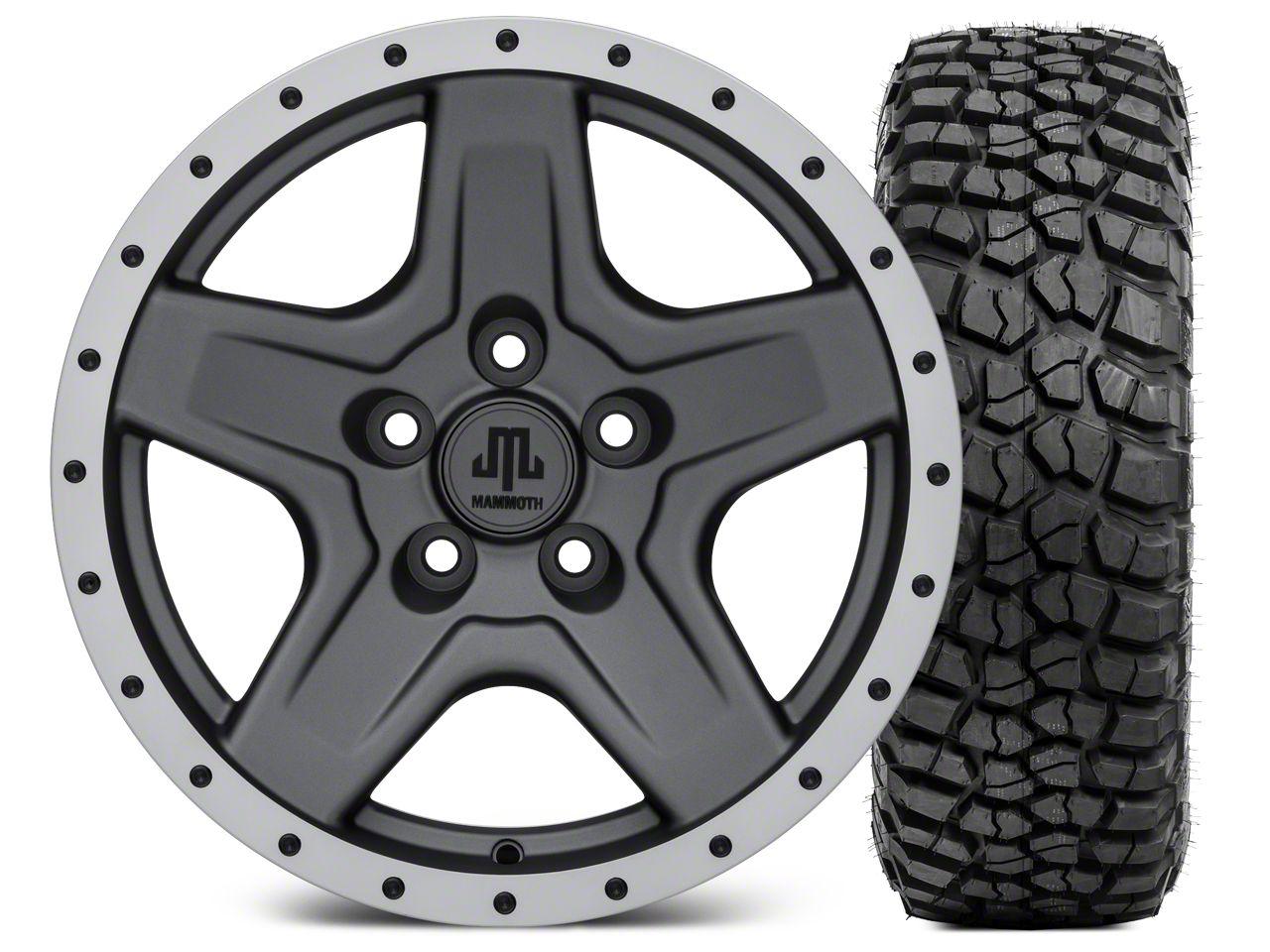 Mammoth Boulder Beadlock Style Charcoal 16x8 Wheel & BFG KM2 315/75- 16 Tire Kit (87-06 Jeep Wrangler YJ & TJ)