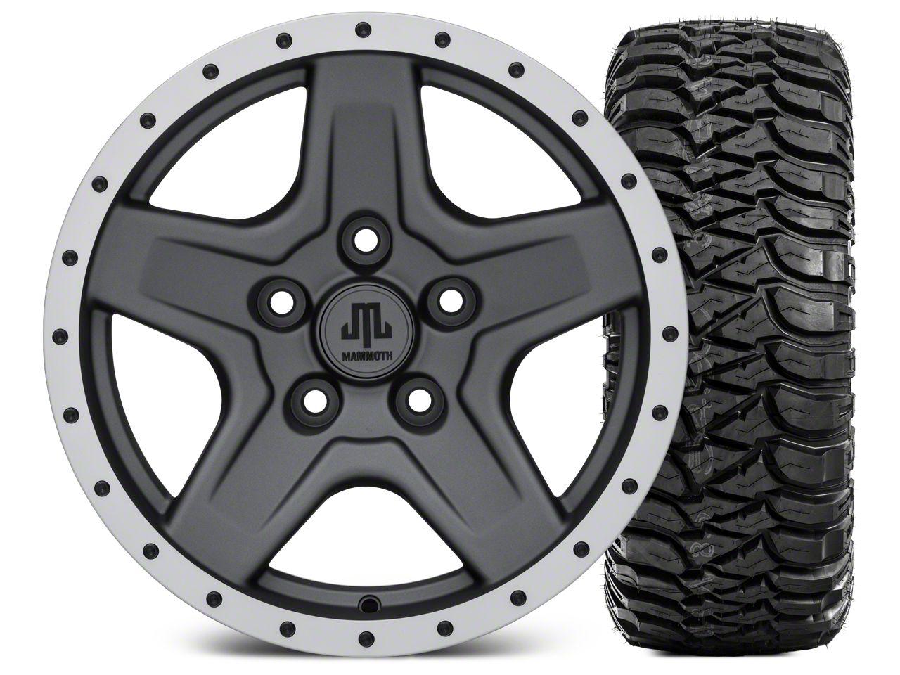 Mammoth Boulder Beadlock Style Charcoal Wheel - 16x8 Wheel - and Mickey Thompson Baja MTZ 315/75-16 (07-18 Jeep Wrangler JK)