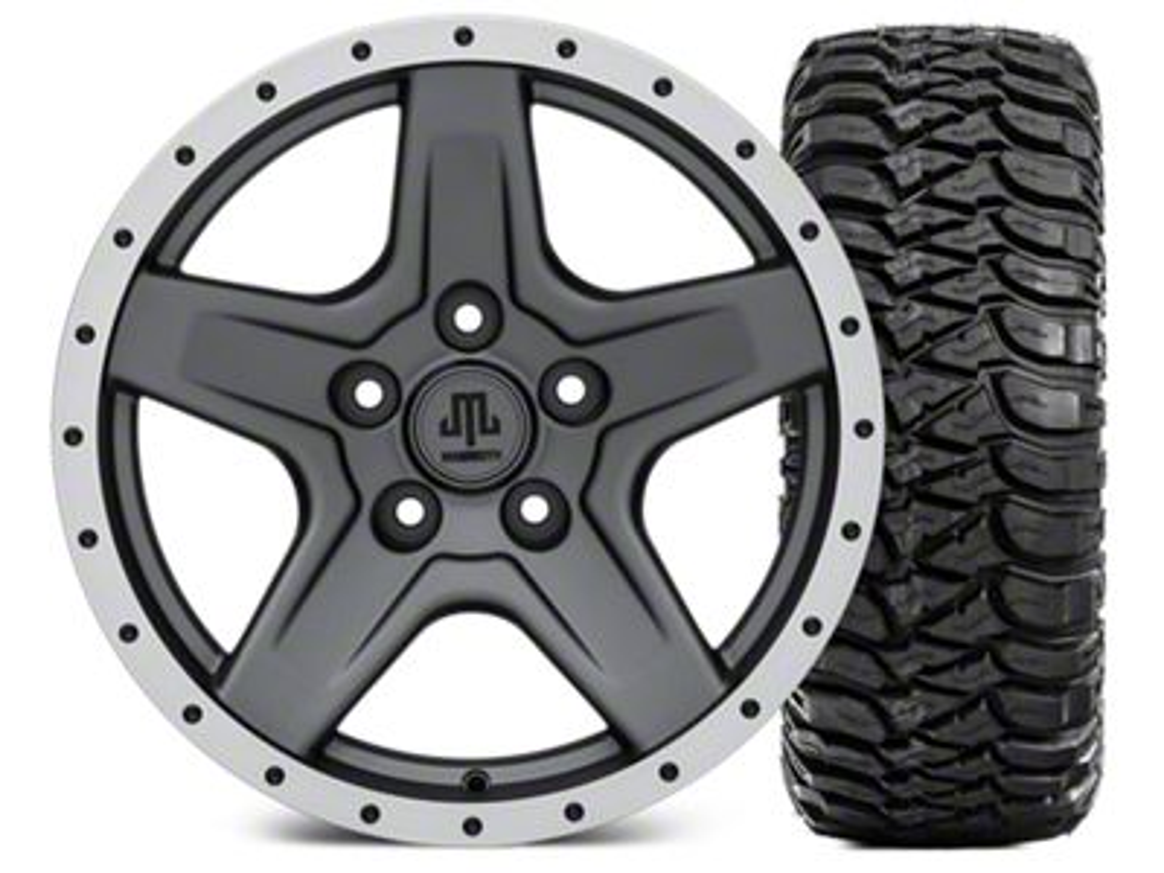 Mammoth Boulder Beadlock Style Charcoal Wheel - 17x9 and Mickey Thompson Baja MTZ 305/65-17 (07-18 Jeep Wrangler JK)