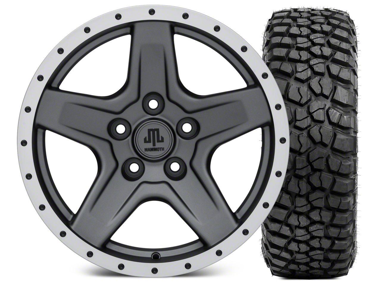 Mammoth Boulder Beadlock Style Charcoal Wheel - 17x9 and BFG KM2 Tire 305/70- 17 (07-18 Jeep Wrangler JK)