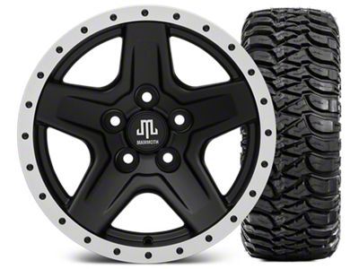 Mammoth Boulder Beadlock Style Black 15x8 Wheel & Mickey Thompson Baja MTZ 33X12.50R15 Tire Kit (87-06 Jeep Wrangler YJ & TJ)