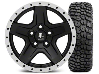 Mammoth Boulder Beadlock Style Black 15x8 Wheel & BFG KM2 35x12.5- 15 Tire Kit (87-06 Jeep Wrangler YJ & TJ)
