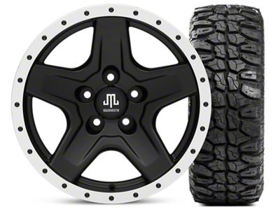 Mammoth Boulder Beadlock Style Black 16x8 Wheel & Mudclaw Radial 315/75- 16 Tire Kit (87-06 Jeep Wrangler YJ & TJ)