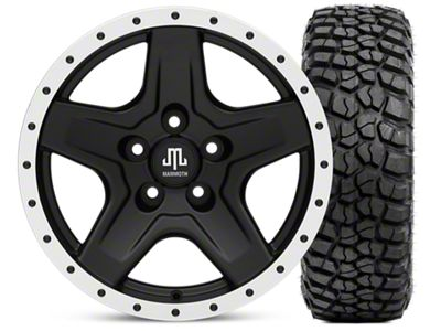 Mammoth Boulder Beadlock Style Black 16x8 Wheel & BFG KM2 315/75- 16 Tire Kit (87-06 Jeep Wrangler YJ & TJ)