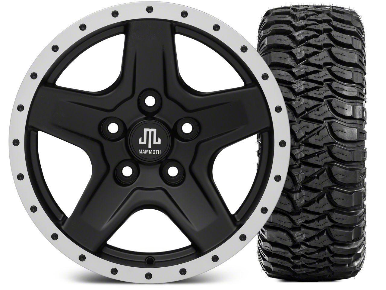 Mammoth Boulder Beadlock Style Black Wheel - 16x8 Wheel - and Mickey Thompson Baja MTZ 315/75-16 (07-18 Jeep Wrangler JK)