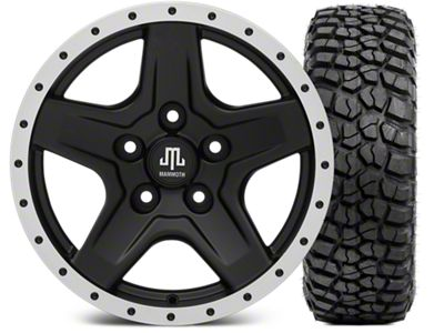 Mammoth Boulder Beadlock Style Black Wheel - 16x8 Wheel - and BFG KM2 Tire 315/75- 16 (07-18 Jeep Wrangler JK)
