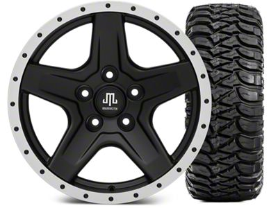 Mammoth Boulder Beadlock Style Black Wheel - 17x9 and Mickey Thompson Baja MTZ 305/65-17 (07-18 Jeep Wrangler JK)