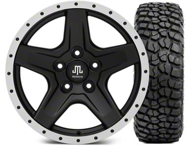 Mammoth Boulder Beadlock Style Black Wheel - 17x9 and BFG KM2 Tire 35x12.5x17 (07-18 Jeep Wrangler JK)