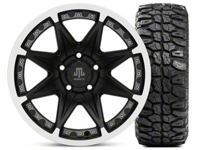 Mammoth Type 88 Matte Black 16x8 Wheel & Mudclaw Radial 315/75- 16 Tire Kit (87-06 Jeep Wrangler YJ & TJ)