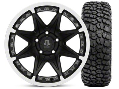 Mammoth Type 88 Matte Black 16x8 Wheel & BFG KM2 315/75- 16 Tire Kit (87-06 Jeep Wrangler YJ & TJ)
