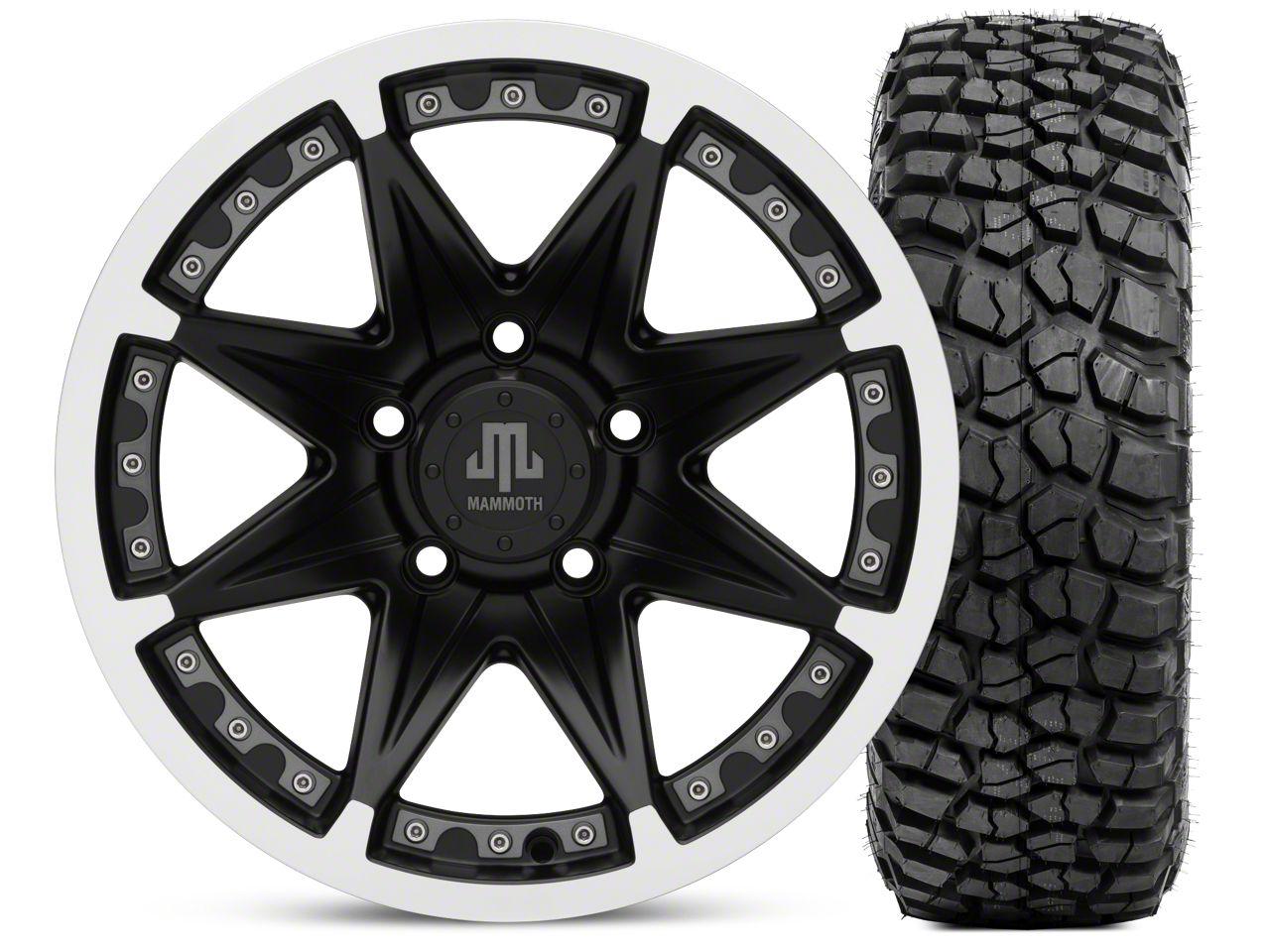 Mammoth Type 88 Wheel - Matte Black Wheel - 16x8 Wheel - & BFG KM2 Tire 315/75- 16 (07-18 Jeep Wrangler JK)