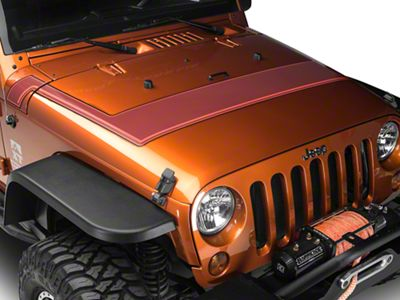 Retro Style Pinstriped Hood Stripes - Orange (07-18 Jeep Wrangler JK; 2018 Jeep Wrangler JL)
