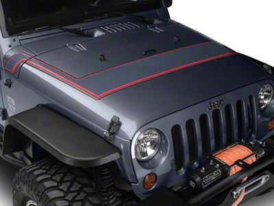 Retro Style Pinstriped Hood Stripes - Gray & Red (07-19 Jeep Wrangler JK & JL)