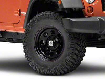 Mammoth 8 Steel Black Wheel w/ Polished Center Cap - 17x9 (07-18 Jeep Wrangler JK)