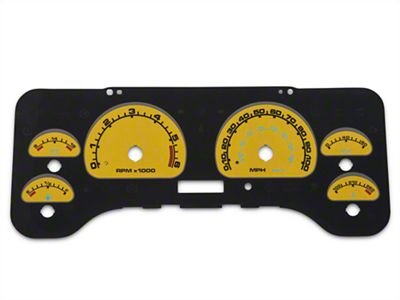 US Speedo Daytona Edition Gauge Face Full Time Icon - Yellow / Blue Night (01-06 Jeep Wrangler TJ)
