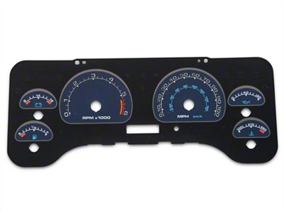 US Speedo Daytona Edition Gauge Face Full Time Icon - Blue / Blue Night (01-06 Jeep Wrangler TJ)