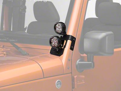 Rugged Ridge 3.5 in. Round LED Lights w/ Textured Black Dual A-Pillar Light Mounting Brackets (07-18 Jeep Wrangler JK)